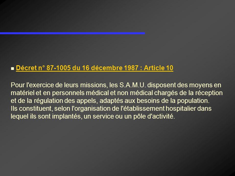 Décret n° 87-1005 du 16 décembre 1987 : Article 10 Pour l'exercice de leurs missions, les S.A.M.U. disposent des moyens en matériel et en personnels m