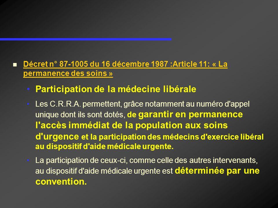 Décret n° 87-1005 du 16 décembre 1987 :Article 11: « La permanence des soins » Participation de la médecine libérale Les C.R.R.A. permettent, grâce no