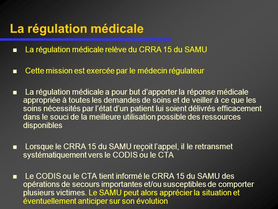 La régulation médicale La régulation médicale relève du CRRA 15 du SAMU Cette mission est exercée par le médecin régulateur La régulation médicale a p