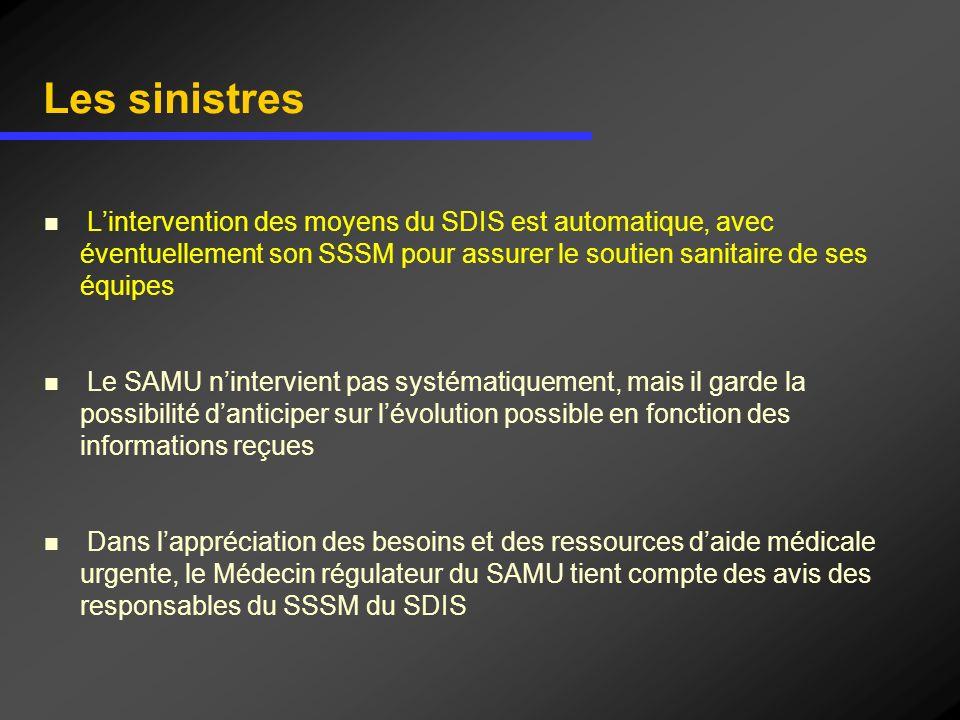 Les sinistres Lintervention des moyens du SDIS est automatique, avec éventuellement son SSSM pour assurer le soutien sanitaire de ses équipes Le SAMU