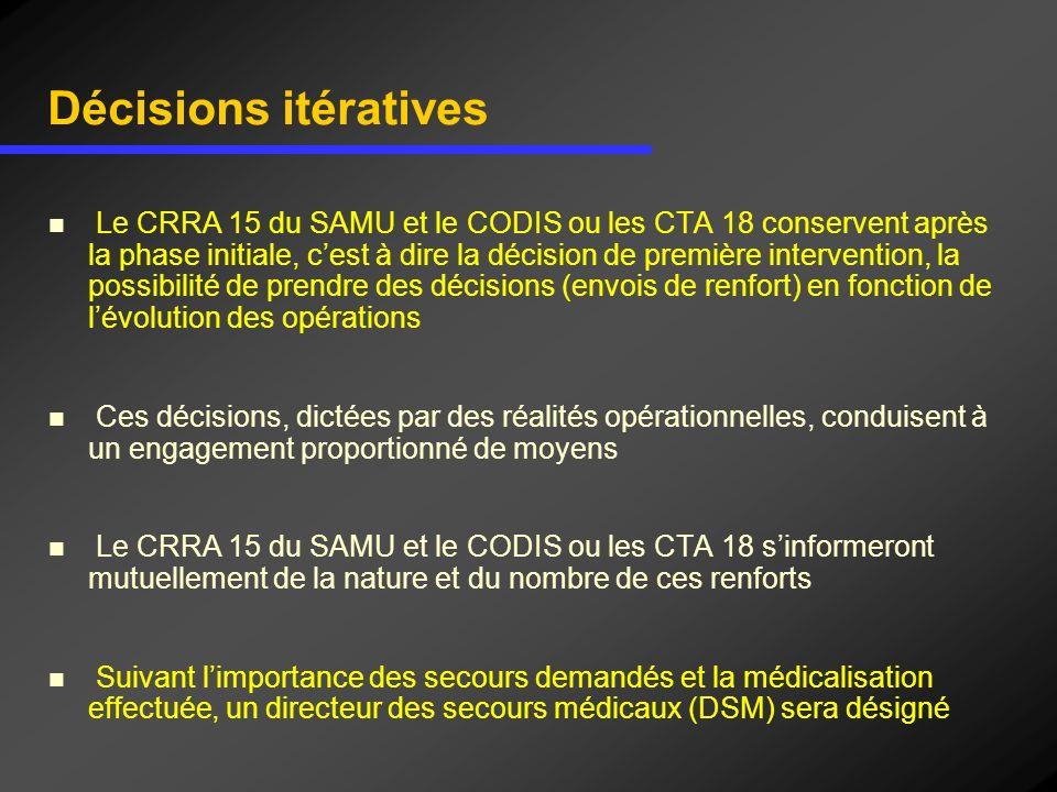 Décisions itératives Le CRRA 15 du SAMU et le CODIS ou les CTA 18 conservent après la phase initiale, cest à dire la décision de première intervention