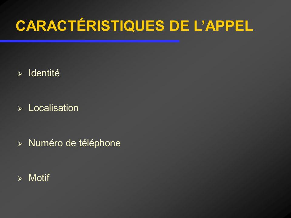Identité Localisation Numéro de téléphone Motif CARACTÉRISTIQUES DE LAPPEL