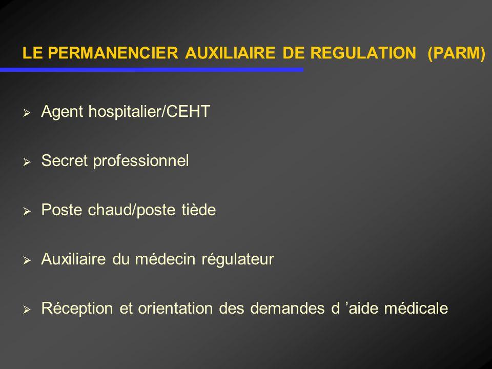 LE PERMANENCIER AUXILIAIRE DE REGULATION (PARM) Agent hospitalier/CEHT Secret professionnel Poste chaud/poste tiède Auxiliaire du médecin régulateur R
