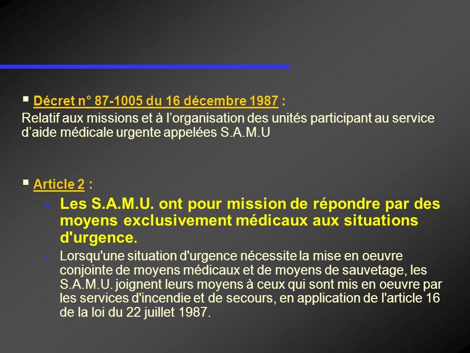 Décret n° 87-1005 du 16 décembre 1987 Relatif aux missions et à lorganisation des unités participant au service daide médicale urgente appelées S.A.M.U Article 3 Pour application de larticle 2 ci-dessus, les S.A.M.U.
