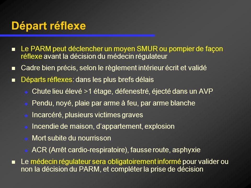 Départ réflexe Le PARM peut déclencher un moyen SMUR ou pompier de façon réflexe avant la décision du médecin régulateur Cadre bien précis, selon le r