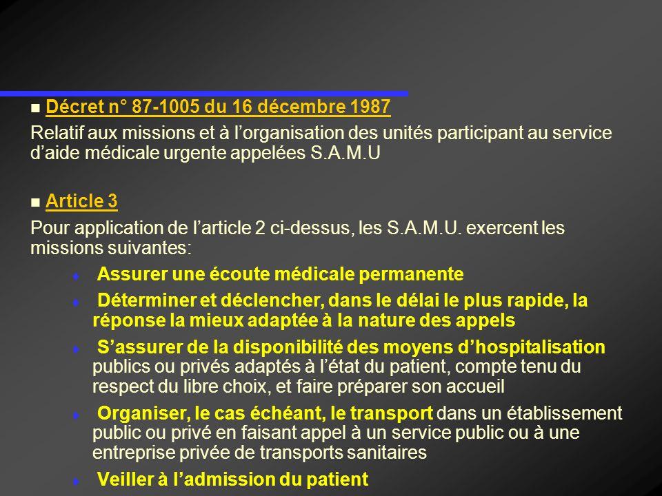 Décret n° 87-1005 du 16 décembre 1987 Relatif aux missions et à lorganisation des unités participant au service daide médicale urgente appelées S.A.M.U Article 4 : Les SAMU participent à la mise en œuvre des plans ORSEC et des plans durgence.