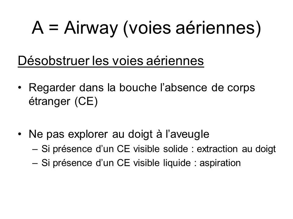 A = Airway (voies aériennes) Désobstruer les voies aériennes Regarder dans la bouche labsence de corps étranger (CE) Ne pas explorer au doigt à laveug