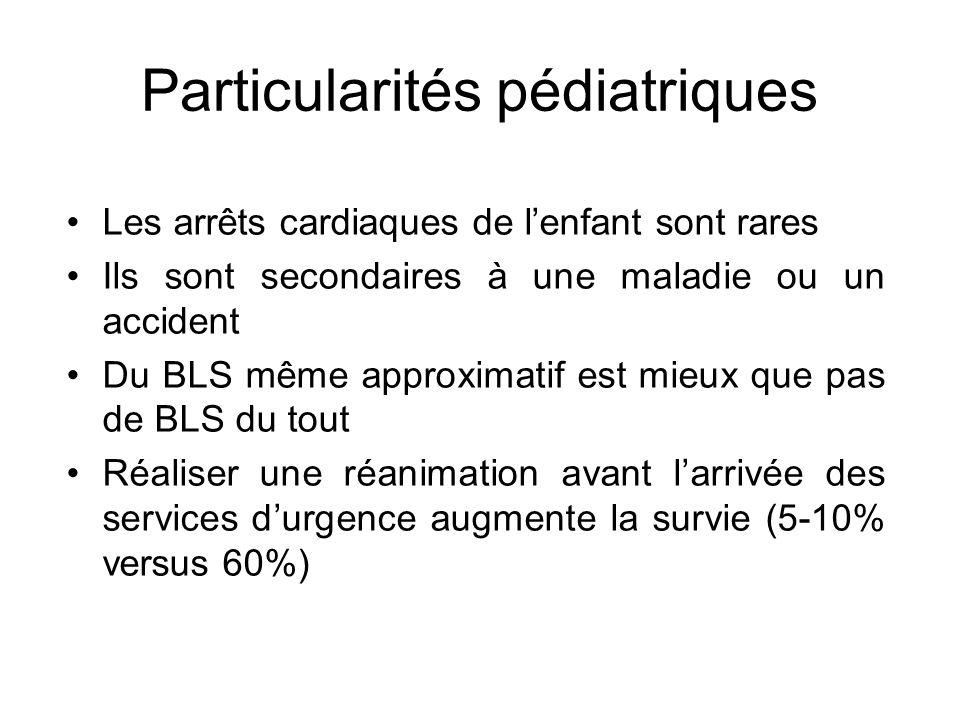 Particularités pédiatriques Les arrêts cardiaques de lenfant sont rares Ils sont secondaires à une maladie ou un accident Du BLS même approximatif est