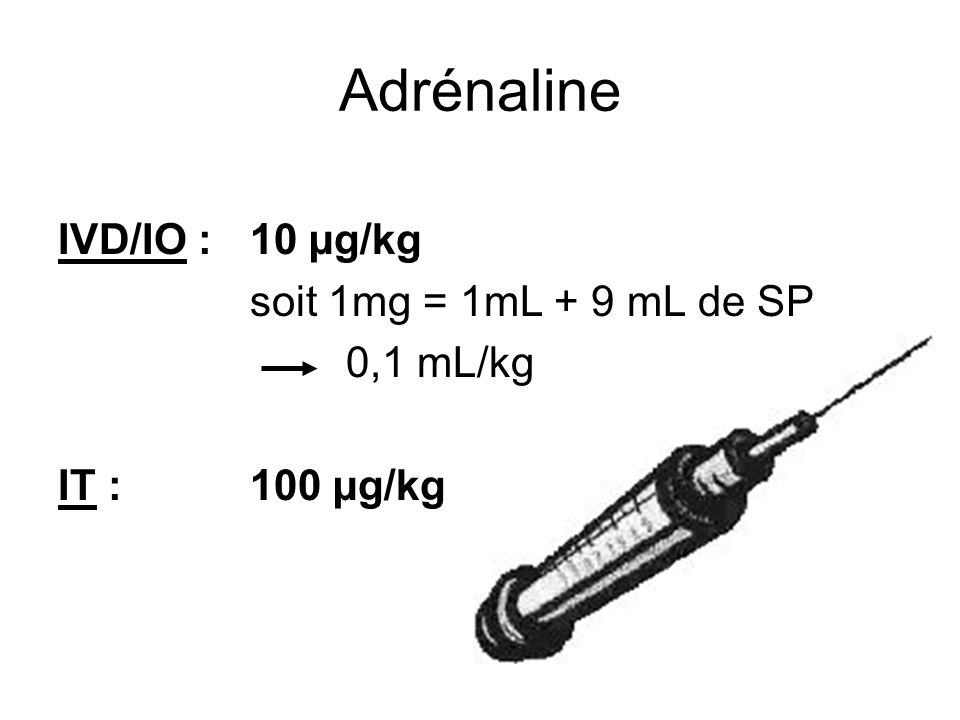 Adrénaline IVD/IO : 10 µg/kg soit 1mg = 1mL + 9 mL de SP 0,1 mL/kg IT :100 µg/kg