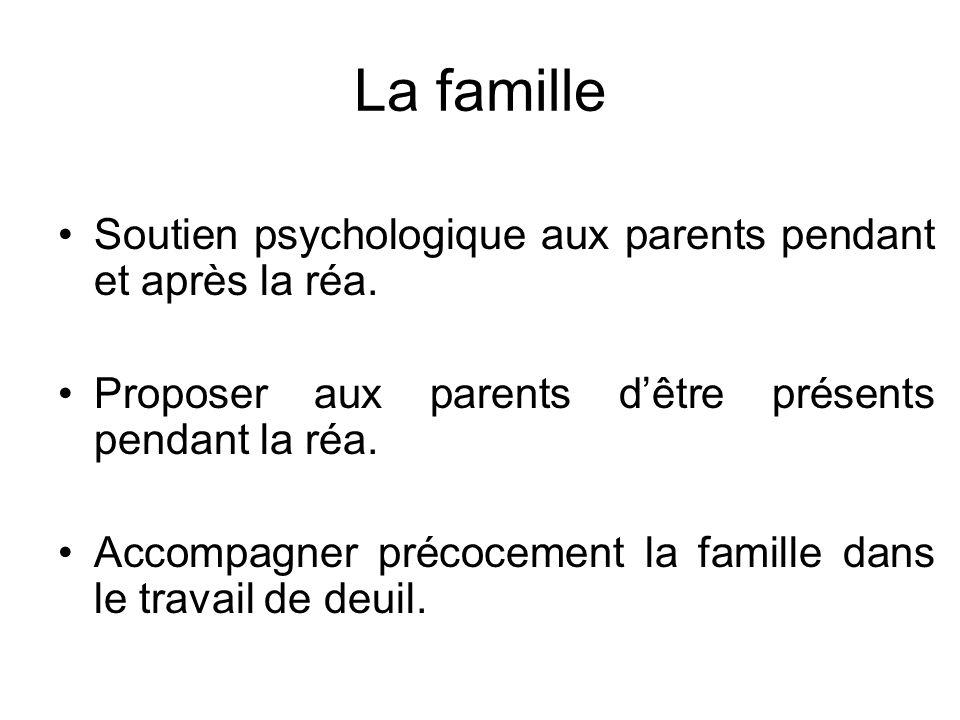 Soutien psychologique aux parents pendant et après la réa. Proposer aux parents dêtre présents pendant la réa. Accompagner précocement la famille dans