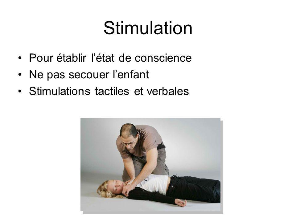 Stimulation Pour établir létat de conscience Ne pas secouer lenfant Stimulations tactiles et verbales