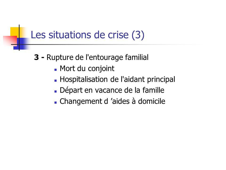 Les situations de crise (3) 3 - Rupture de l entourage familial Mort du conjoint Hospitalisation de l aidant principal Départ en vacance de la famille Changement d aides à domicile