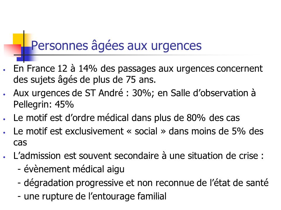 Personnes âgées aux urgences En France 12 à 14% des passages aux urgences concernent des sujets âgés de plus de 75 ans.