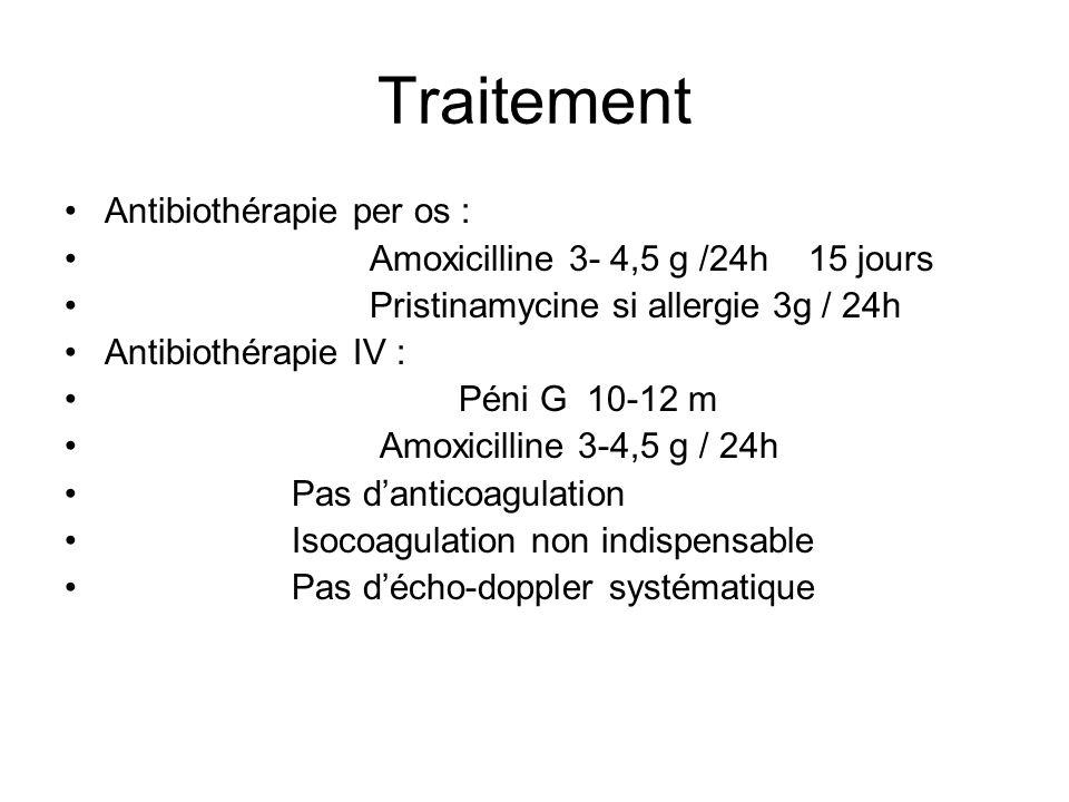 Traitement Antibiothérapie per os : Amoxicilline 3- 4,5 g /24h 15 jours Pristinamycine si allergie 3g / 24h Antibiothérapie IV : Péni G 10-12 m Amoxic