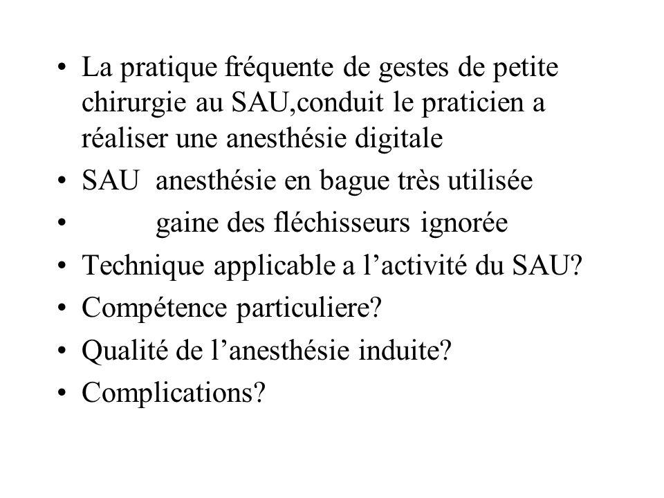 La pratique fréquente de gestes de petite chirurgie au SAU,conduit le praticien a réaliser une anesthésie digitale SAU anesthésie en bague très utilis