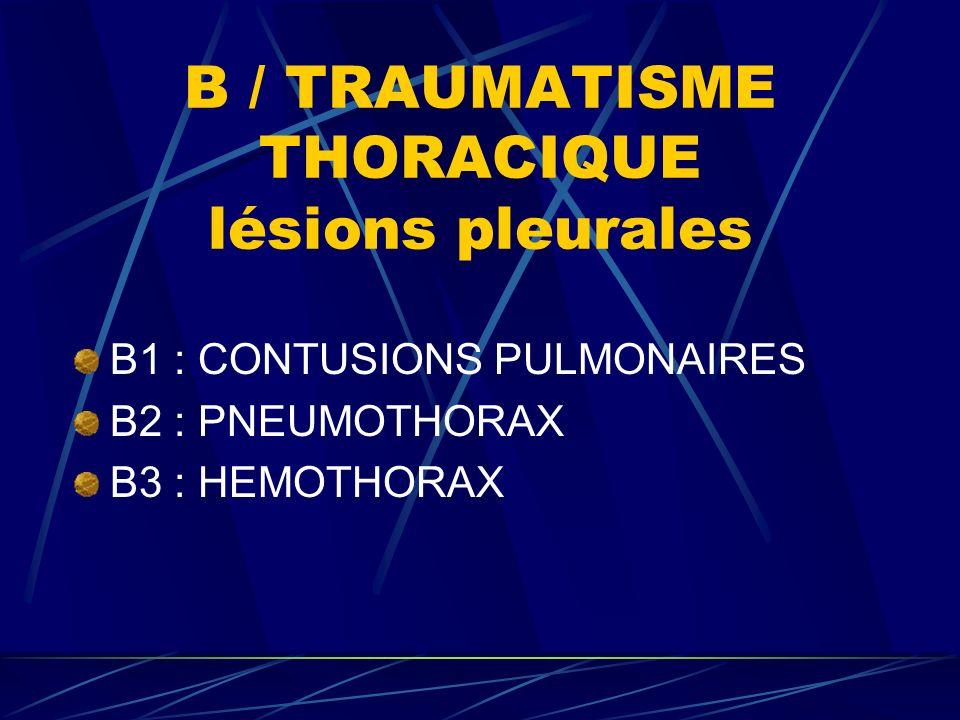 B / TRAUMATISME THORACIQUE lésions pleurales B1 : CONTUSIONS PULMONAIRES B2 : PNEUMOTHORAX B3 : HEMOTHORAX