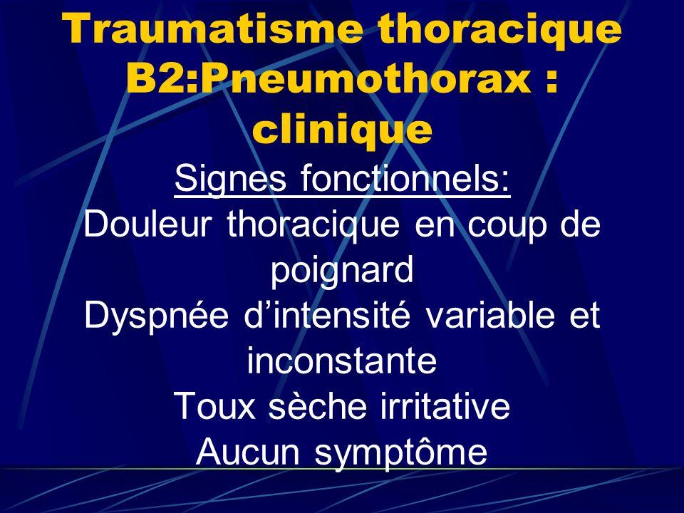 Traumatisme thoracique B2:Pneumothorax : clinique Signes fonctionnels: Douleur thoracique en coup de poignard Dyspnée dintensité variable et inconstante Toux sèche irritative Aucun symptôme