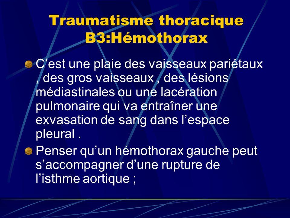 Traumatisme thoracique B3:Hémothorax Cest une plaie des vaisseaux pariétaux, des gros vaisseaux, des lésions médiastinales ou une lacération pulmonaire qui va entraîner une exvasation de sang dans lespace pleural.