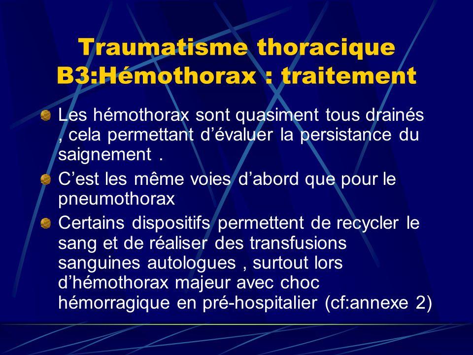 Traumatisme thoracique B3:Hémothorax : traitement Les hémothorax sont quasiment tous drainés, cela permettant dévaluer la persistance du saignement.
