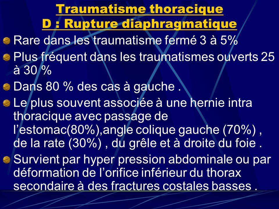 Traumatisme thoracique D : Rupture diaphragmatique Rare dans les traumatisme fermé 3 à 5% Plus fréquent dans les traumatismes ouverts 25 à 30 % Dans 80 % des cas à gauche.
