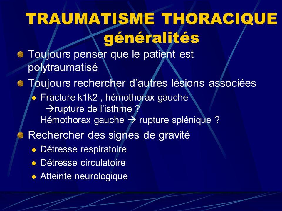 TRAUMATISME THORACIQUE généralités Toujours penser que le patient est polytraumatisé Toujours rechercher dautres lésions associées Fracture k1k2, hémothorax gauche rupture de listhme .