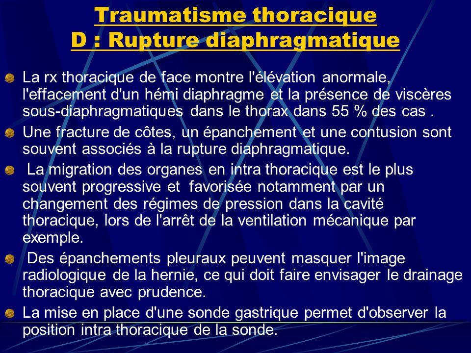 Traumatisme thoracique D : Rupture diaphragmatique La rx thoracique de face montre l élévation anormale, l effacement d un hémi diaphragme et la présence de viscères sous-diaphragmatiques dans le thorax dans 55 % des cas.