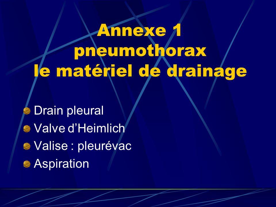 Annexe 1 pneumothorax le matériel de drainage Drain pleural Valve dHeimlich Valise : pleurévac Aspiration