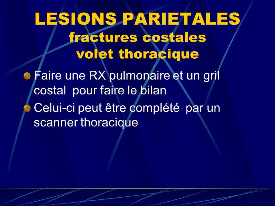 LESIONS PARIETALES fractures costales volet thoracique Faire une RX pulmonaire et un gril costal pour faire le bilan Celui-ci peut être complété par un scanner thoracique