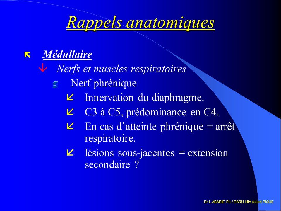 Dr L.ABADIE Ph / DARU HIA robert PIQUE Rappels anatomiques ë Médullaire âNerfs et muscles respiratoires 4 Nerf phrénique åInnervation du diaphragme. å