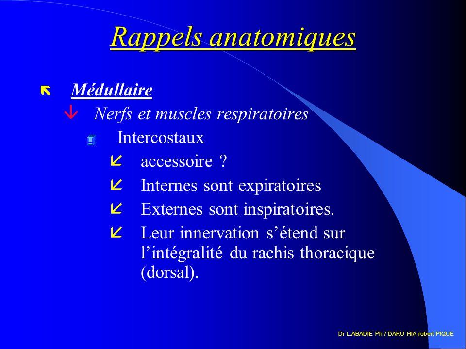 Dr L.ABADIE Ph / DARU HIA robert PIQUE Rappels anatomiques ë Médullaire âNerfs et muscles respiratoires 4 Intercostaux åaccessoire ? åInternes sont ex