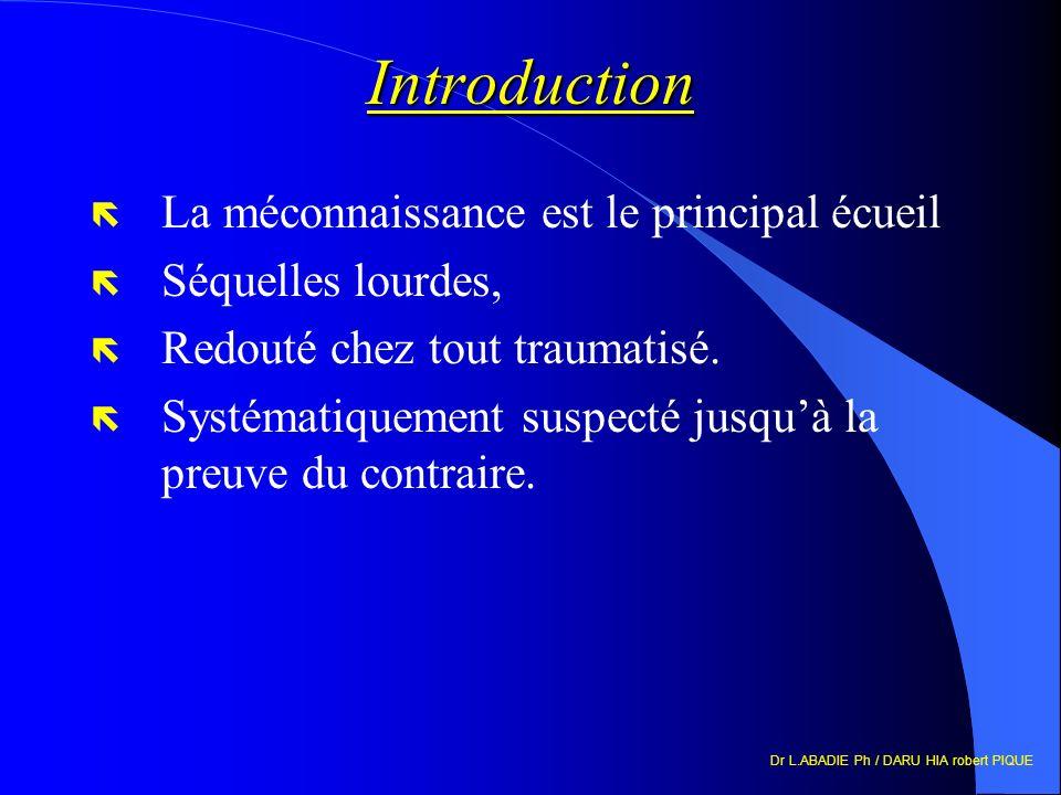 Dr L.ABADIE Ph / DARU HIA robert PIQUE Introduction ë La méconnaissance est le principal écueil ë Séquelles lourdes, ë Redouté chez tout traumatisé. ë