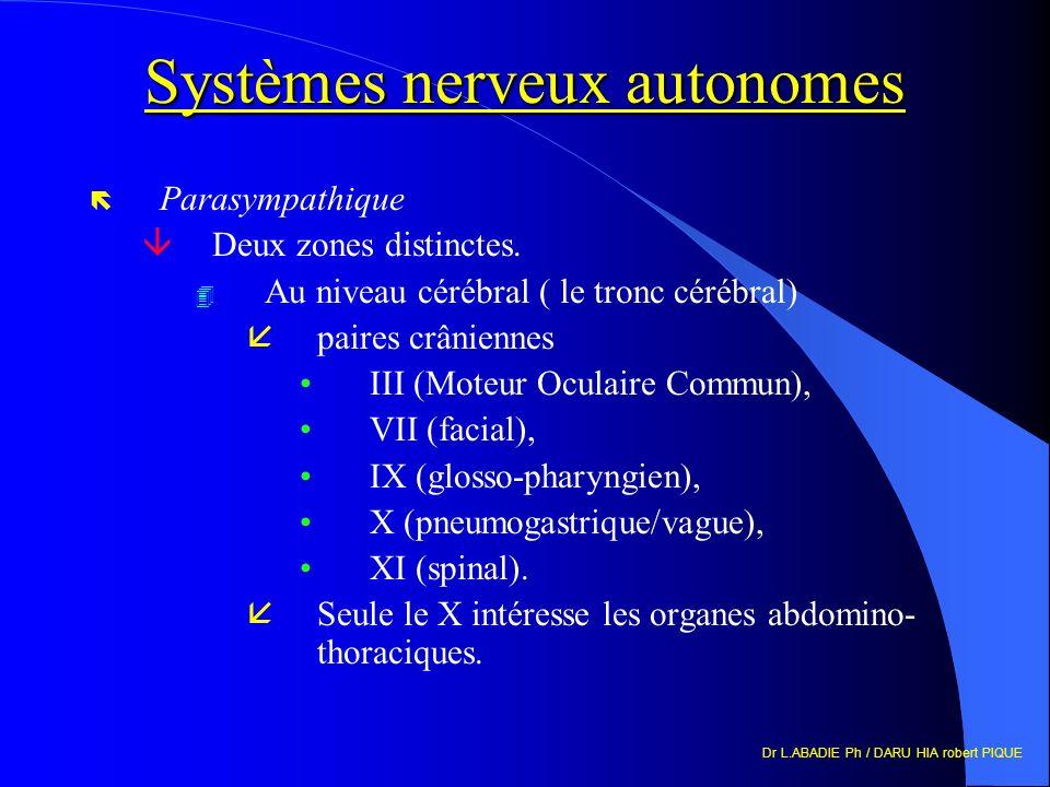 Dr L.ABADIE Ph / DARU HIA robert PIQUE Systèmes nerveux autonomes ë Parasympathique âDeux zones distinctes.