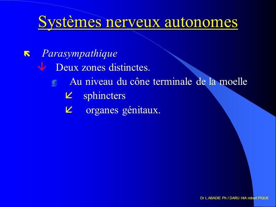 Dr L.ABADIE Ph / DARU HIA robert PIQUE Systèmes nerveux autonomes ë Parasympathique âDeux zones distinctes. 4 Au niveau du cône terminale de la moelle