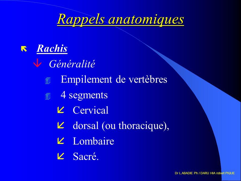 Dr L.ABADIE Ph / DARU HIA robert PIQUE Rappels anatomiques ë Rachis âGénéralité 4 Empilement de vertèbres 4 4 segments åCervical ådorsal (ou thoraciqu