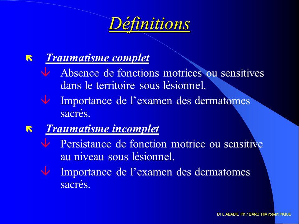 Dr L.ABADIE Ph / DARU HIA robert PIQUE Définitions ë Traumatisme complet âAbsence de fonctions motrices ou sensitives dans le territoire sous lésionnel.