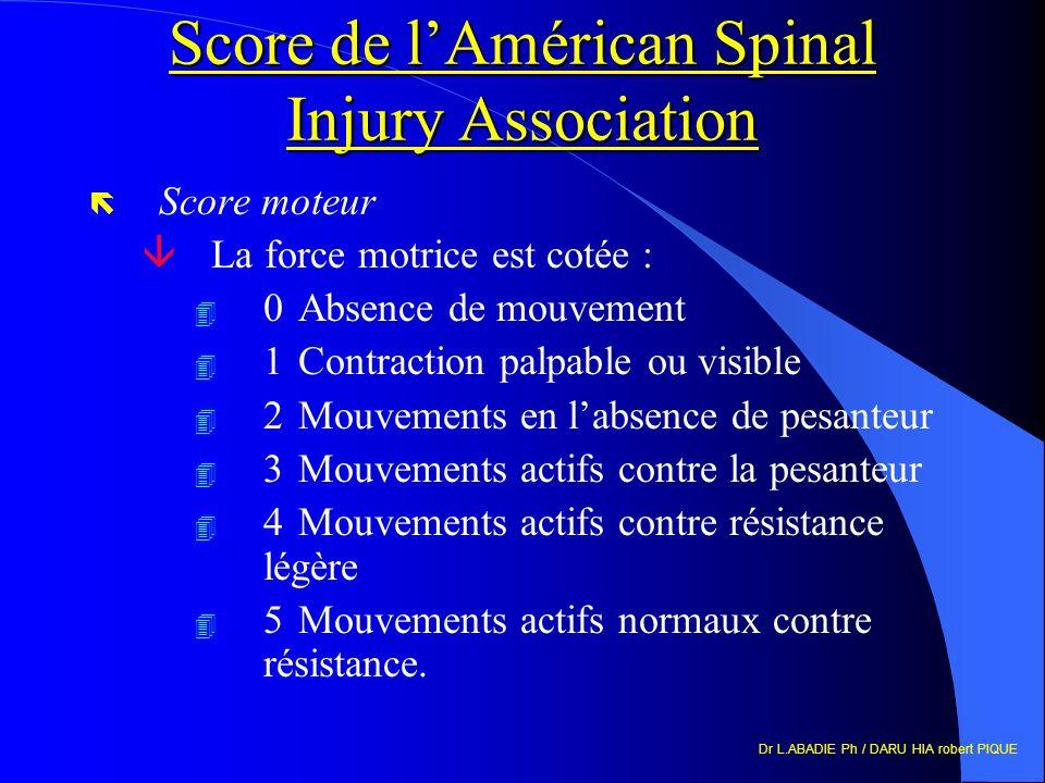 Dr L.ABADIE Ph / DARU HIA robert PIQUE Score de lAmérican Spinal Injury Association ë Score moteur âLa force motrice est cotée : 4 0Absence de mouvement 4 1Contraction palpable ou visible 4 2Mouvements en labsence de pesanteur 4 3Mouvements actifs contre la pesanteur 4 4Mouvements actifs contre résistance légère 4 5Mouvements actifs normaux contre résistance.