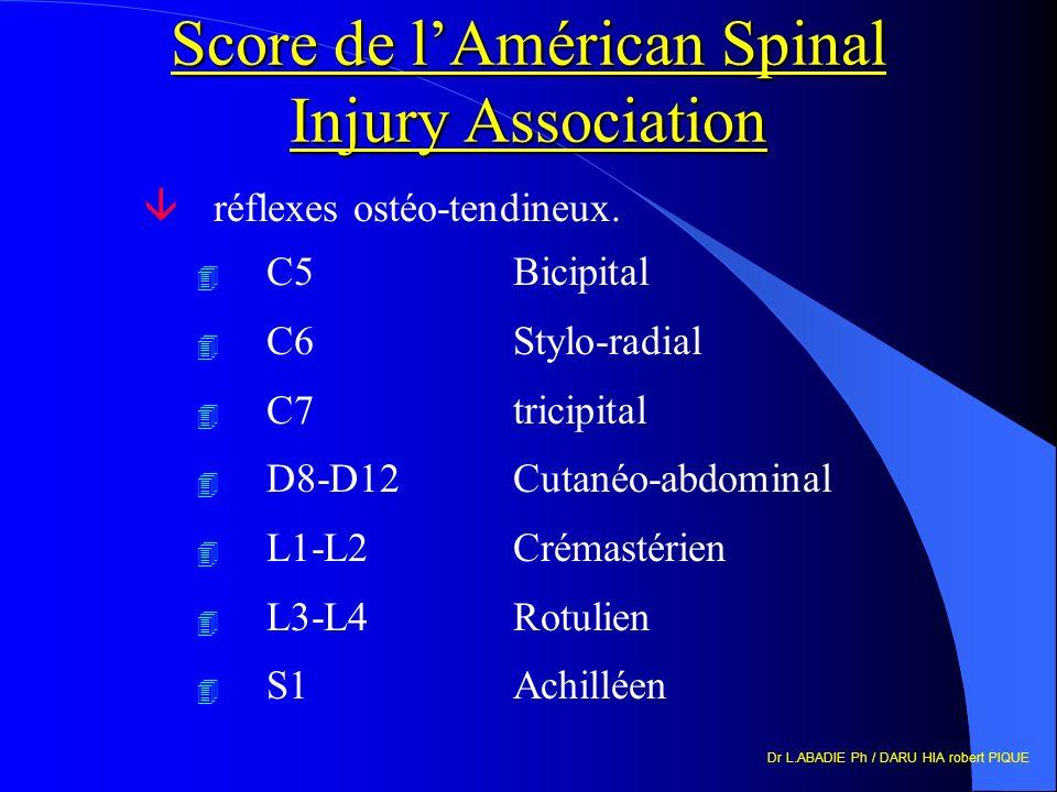 Dr L.ABADIE Ph / DARU HIA robert PIQUE Score de lAmérican Spinal Injury Association âréflexes ostéo-tendineux. 4 C5Bicipital 4 C6Stylo-radial 4 C7tric