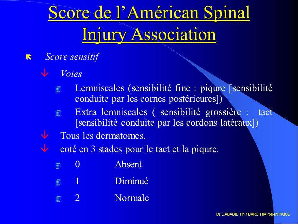 Dr L.ABADIE Ph / DARU HIA robert PIQUE Score de lAmérican Spinal Injury Association ë Score sensitif âVoies 4 Lemniscales (sensibilité fine : piqure [sensibilité conduite par les cornes postérieures]) 4 Extra lemniscales ( sensibilité grossière : tact [sensibilité conduite par les cordons latéraux]) âTous les dermatomes.