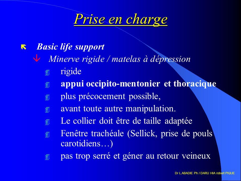 Dr L.ABADIE Ph / DARU HIA robert PIQUE Prise en charge ë Basic life support âMinerve rigide / matelas à dépression 4 rigide 4 appui occipito-mentonier et thoracique 4 plus précocement possible, 4 avant toute autre manipulation.