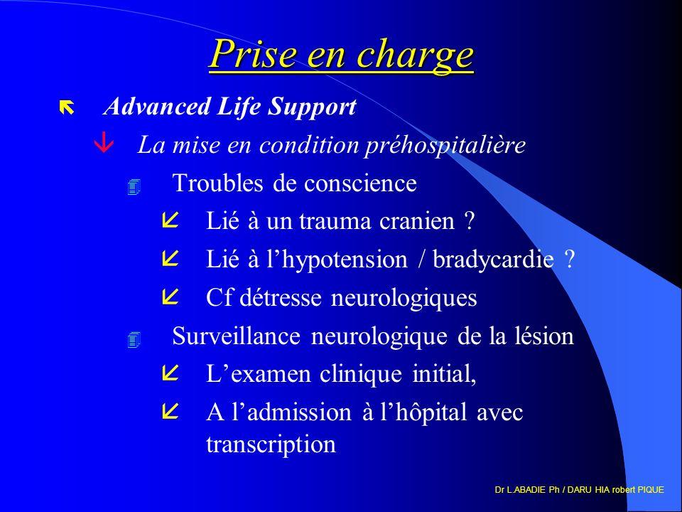 Dr L.ABADIE Ph / DARU HIA robert PIQUE Prise en charge ë Advanced Life Support âLa mise en condition préhospitalière 4 Troubles de conscience åLié à un trauma cranien .