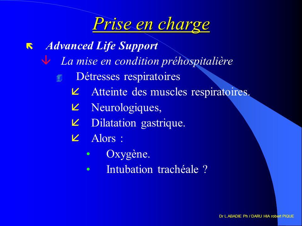 Dr L.ABADIE Ph / DARU HIA robert PIQUE Prise en charge ë Advanced Life Support âLa mise en condition préhospitalière 4 Détresses respiratoires åAtteinte des muscles respiratoires.