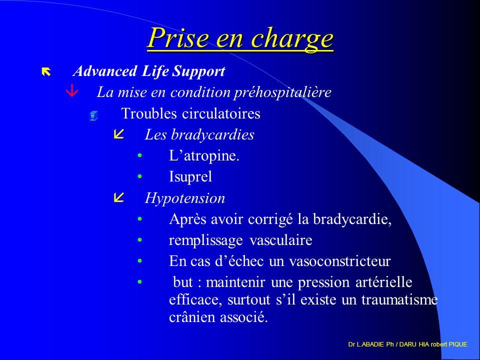 Dr L.ABADIE Ph / DARU HIA robert PIQUE Prise en charge ë Advanced Life Support âLa mise en condition préhospitalière 4 Troubles circulatoires åLes bra