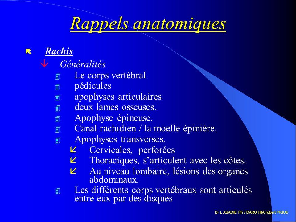 Rappels anatomiques ë Rachis âGénéralités 4 Le corps vertébral 4 pédicules 4 apophyses articulaires 4 deux lames osseuses. 4 Apophyse épineuse. 4 Cana