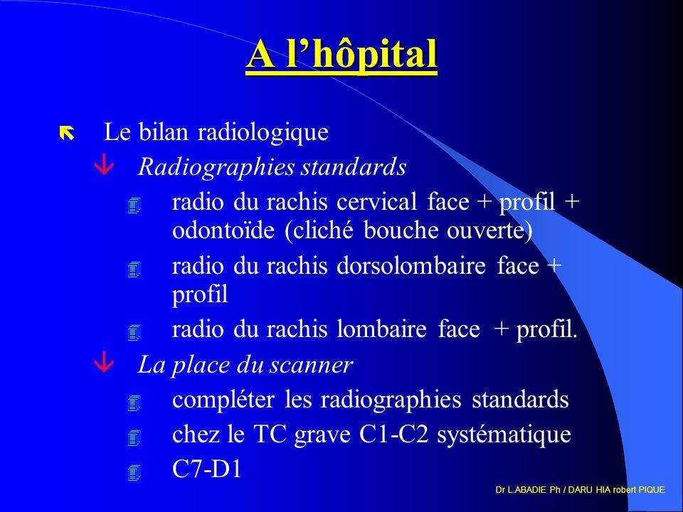 Dr L.ABADIE Ph / DARU HIA robert PIQUE A lhôpital ë Le bilan radiologique âRadiographies standards 4 radio du rachis cervical face + profil + odontoïd