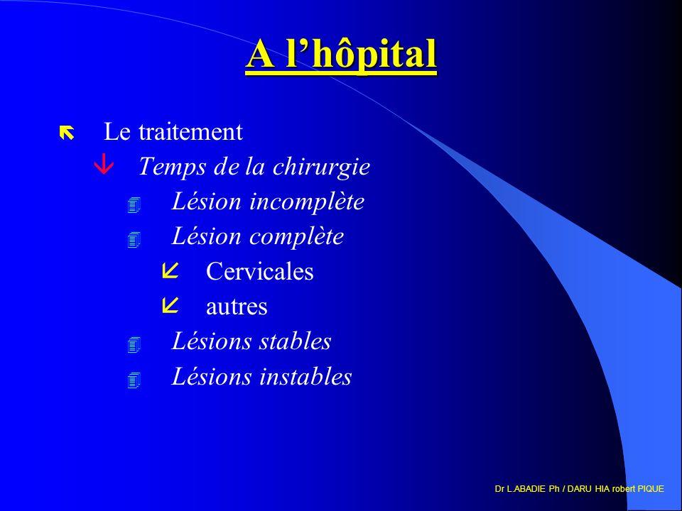 Dr L.ABADIE Ph / DARU HIA robert PIQUE A lhôpital ë Le traitement âTemps de la chirurgie 4 Lésion incomplète 4 Lésion complète åCervicales åautres 4 Lésions stables 4 Lésions instables
