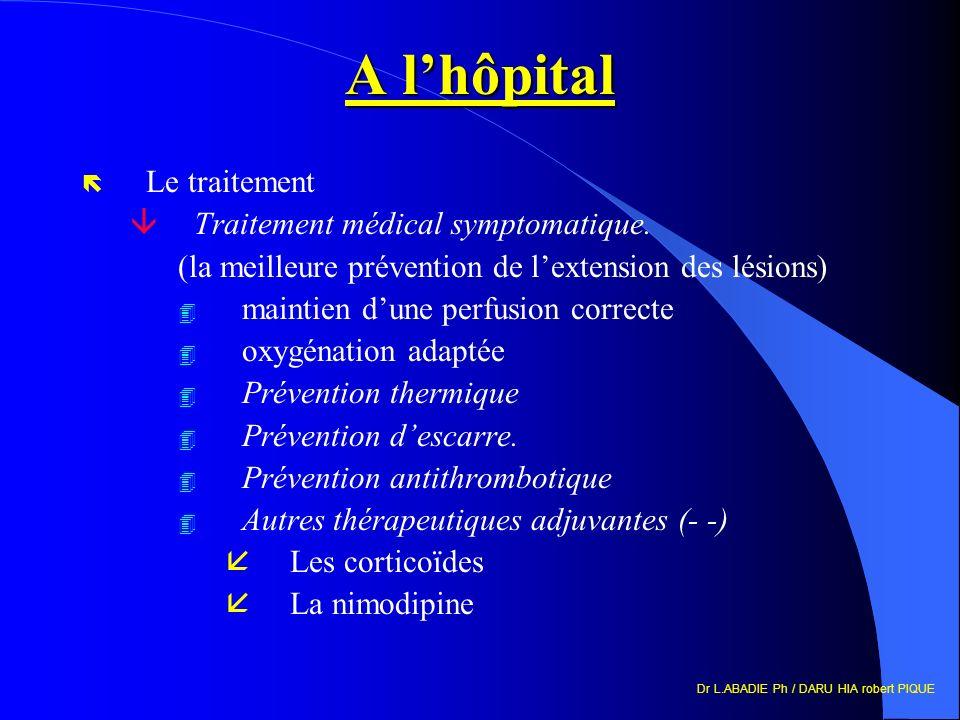 Dr L.ABADIE Ph / DARU HIA robert PIQUE A lhôpital ë Le traitement âTraitement médical symptomatique. (la meilleure prévention de lextension des lésion