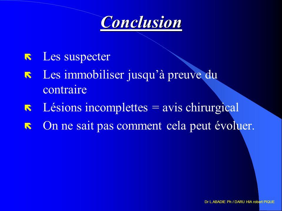 Dr L.ABADIE Ph / DARU HIA robert PIQUE Conclusion ë Les suspecter ë Les immobiliser jusquà preuve du contraire ë Lésions incomplettes = avis chirurgical ë On ne sait pas comment cela peut évoluer.