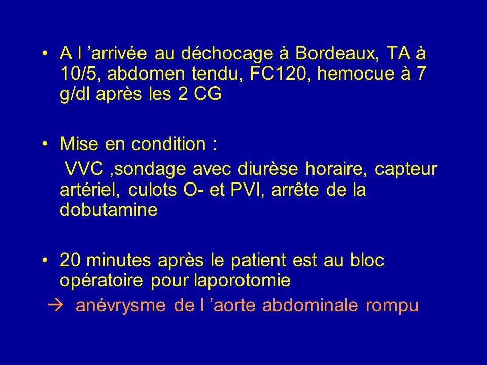 Mis sous Dobutrex, sédation hypnovel fentanyl, remplissage Voluven 1000ml dont le dernier est en cours au moment de la pec par le SAMU de Bordeaux ver
