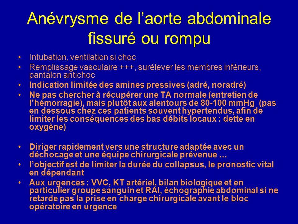 Anévrysme de laorte abdominale fissuré ou rompu Evaluer la gravité immédiate et organiser la prise en charge en fonction de la gravité Signes de chocs