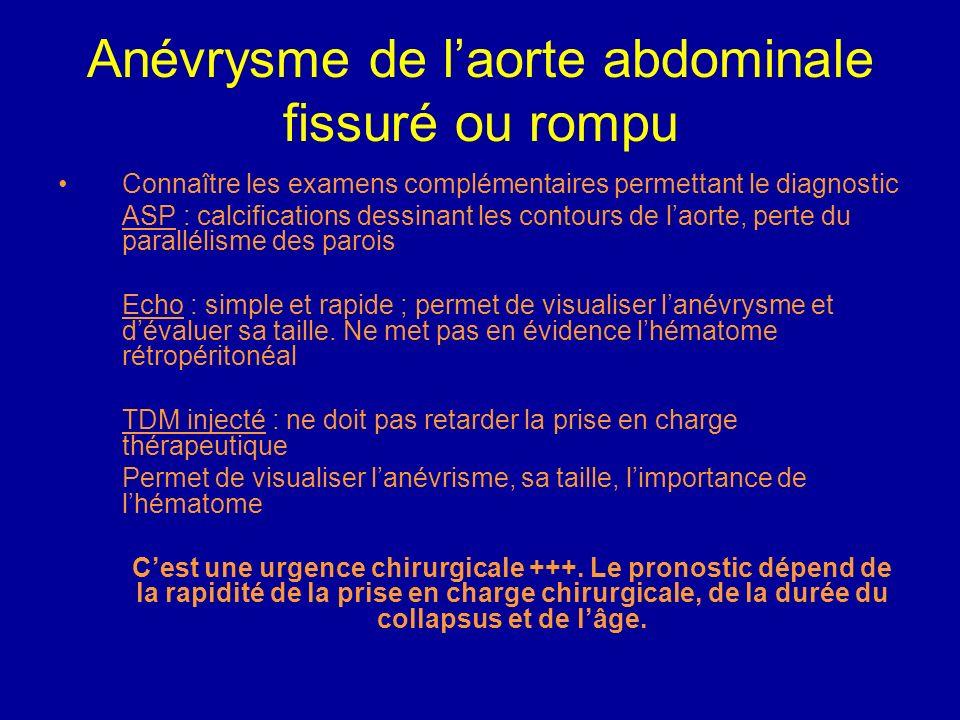 Anévrysme de laorte abdominale fissuré ou rompu Intubation, ventilation si choc Remplissage vasculaire +++, surélever les membres inférieurs, pantalon